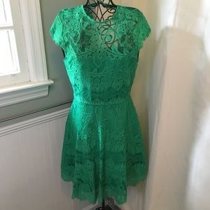 BB Dakota Green Lace Backless Dress Sz 6